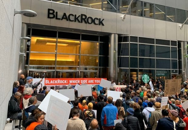 Photo of demonstration outside of BlackRock offices