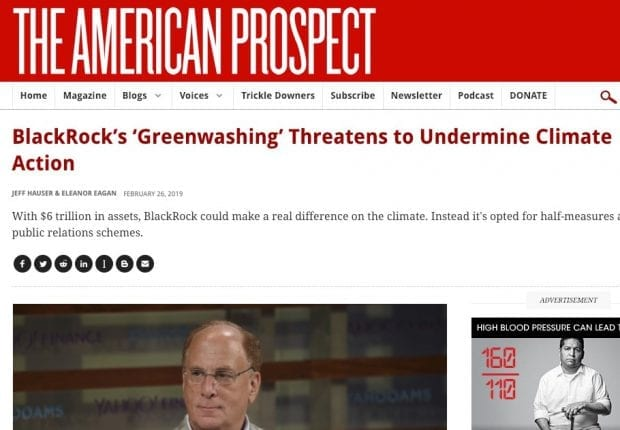 American Prospect story on BlackRock greenwashing