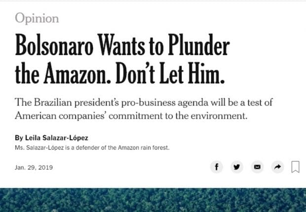 New York Times opinion piece on Brazilian President Bolsonaro plundering the Amazon
