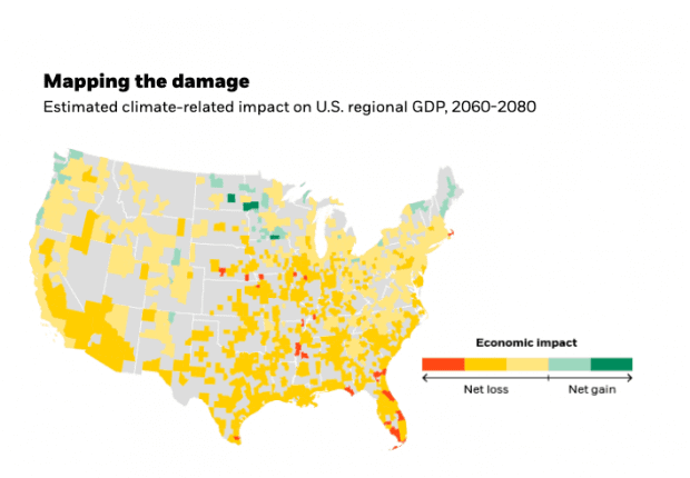 A map of estimated economic damage to the US due to climate change