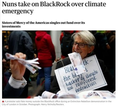 Screenshot of news article about nuns taking on BlackRock over the climate emergency