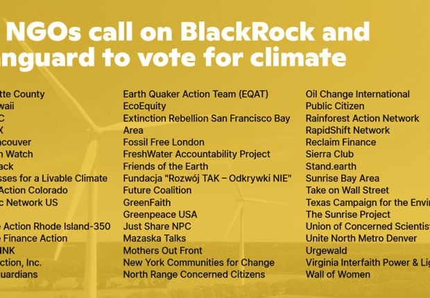 47 NGOs call on BlackRock and Vanguard to vote for climate