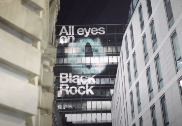 Projection of All Eyes On BlackRock in London